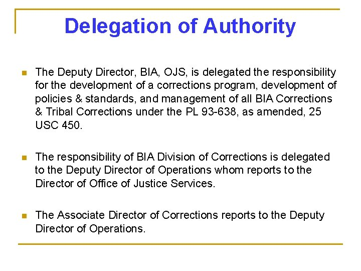 Delegation of Authority n The Deputy Director, BIA, OJS, is delegated the responsibility for