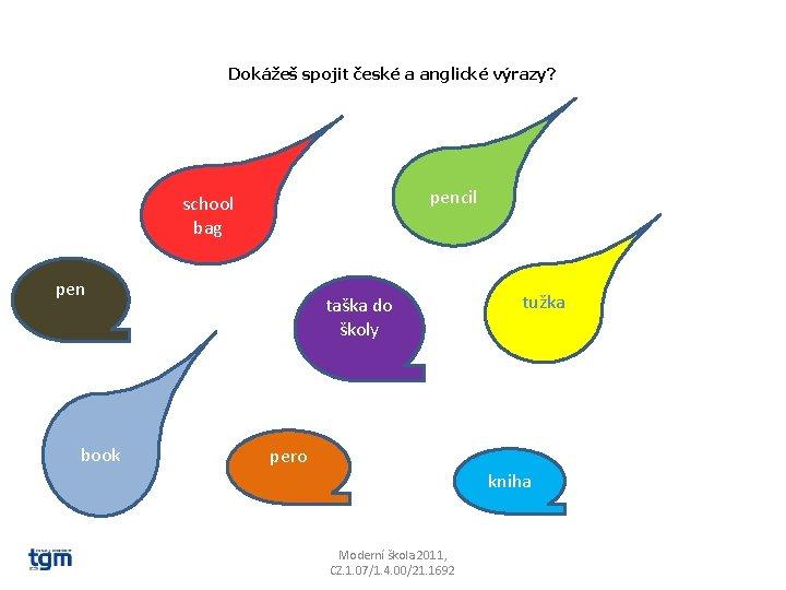 Dokážeš spojit české a anglické výrazy? pencil school bag pen book taška do školy