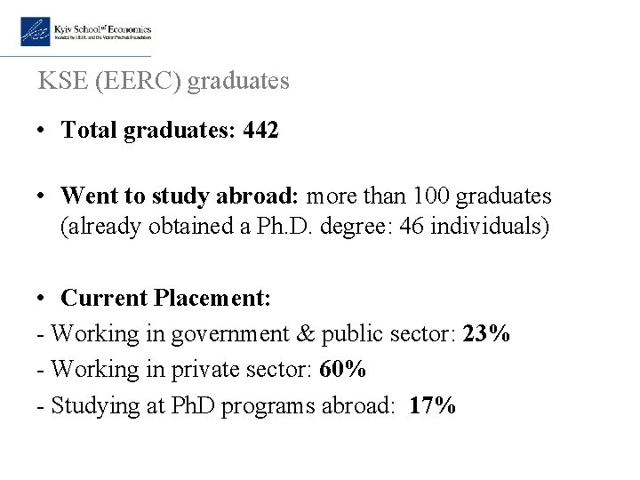 KSE (EERC) graduates • Total graduates: 442 • Went to study abroad: more than