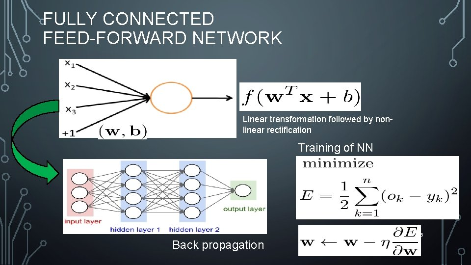 FULLY CONNECTED FEED-FORWARD NETWORK Linear transformation followed by nonlinear rectification Training of NN 16