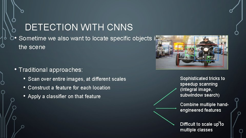 DETECTION WITH CNNS • Sometime we also want to locate specific objects in the