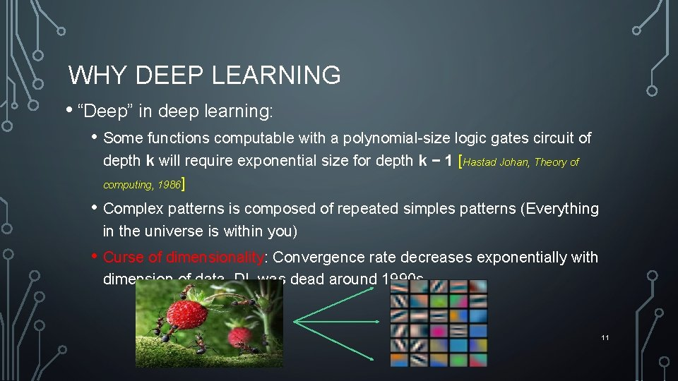 "WHY DEEP LEARNING • ""Deep"" in deep learning: • Some functions computable with a"