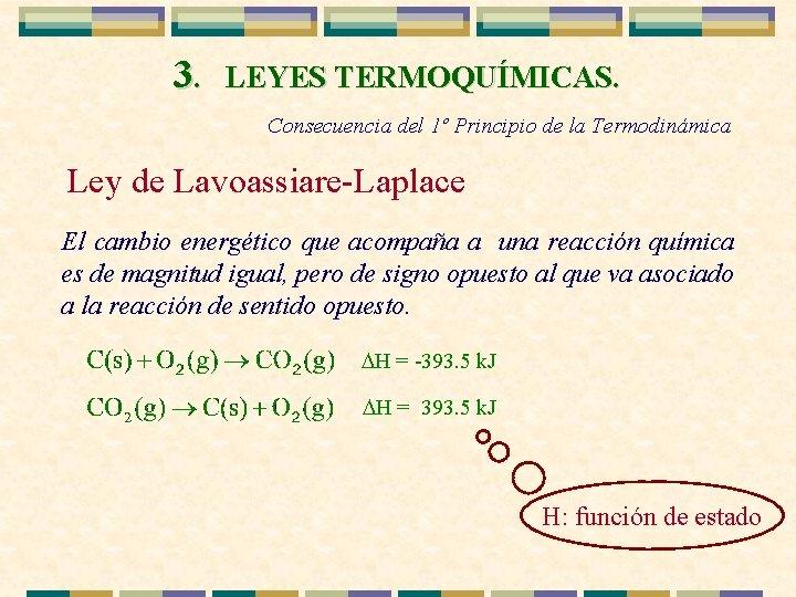 3. LEYES TERMOQUÍMICAS. Consecuencia del 1º Principio de la Termodinámica Ley de Lavoassiare-Laplace El