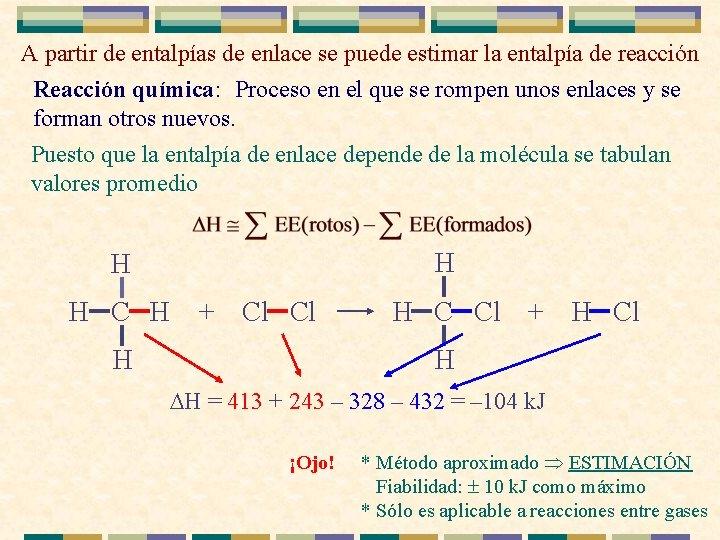 A partir de entalpías de enlace se puede estimar la entalpía de reacción Reacción