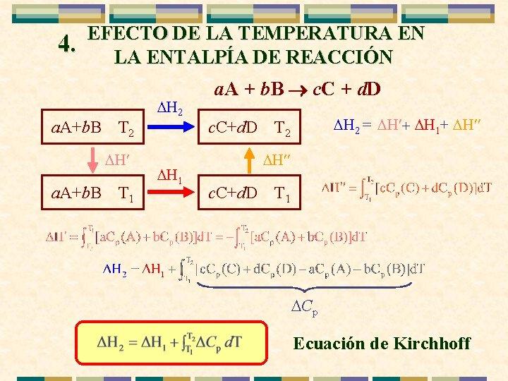 4. EFECTO DE LA TEMPERATURA EN LA ENTALPÍA DE REACCIÓN a. A+b. B T