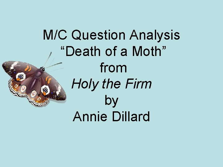 """M/C Question Analysis """"Death of a Moth"""" from Holy the Firm by Annie Dillard"""