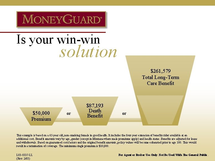 Is your win-win solution $261, 579 Total Long-Term Care Benefit $50, 000 Premium or