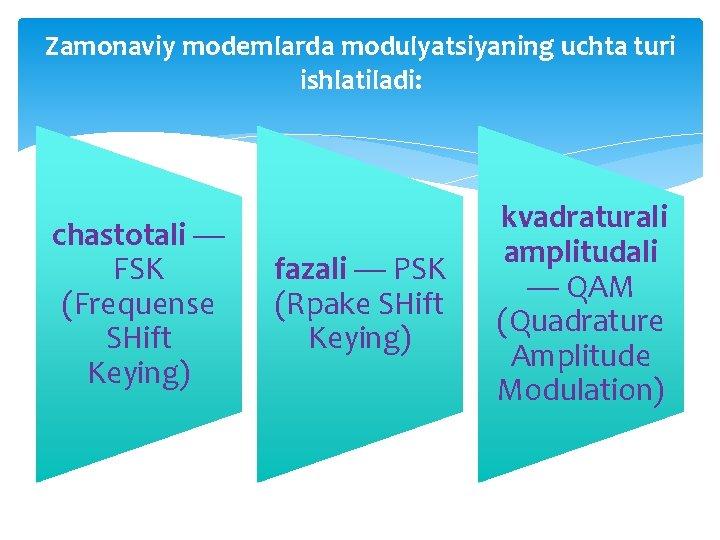 Zamonaviy modemlarda modulyatsiyaning uchta turi ishlatiladi: chastotali — FSK (Frequense SHift Keying) fazali —