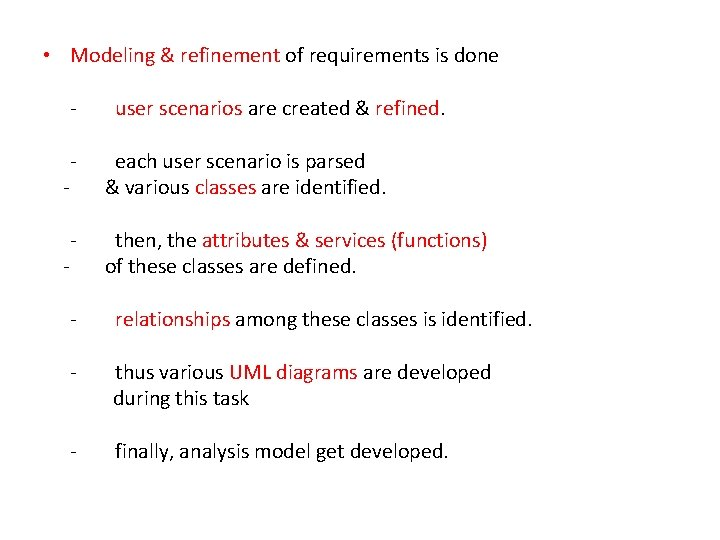 • Modeling & refinement of requirements is done - user scenarios are created