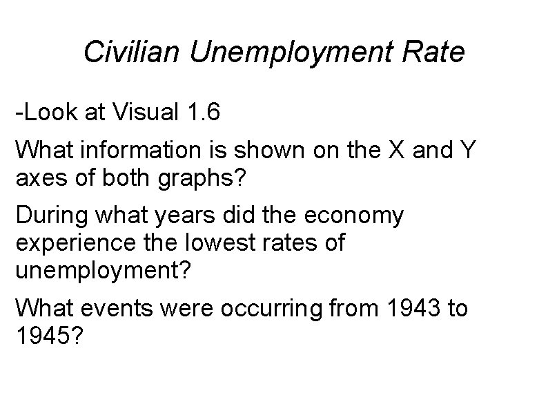 Civilian Unemployment Rate -Look at Visual 1. 6 What information is shown on the