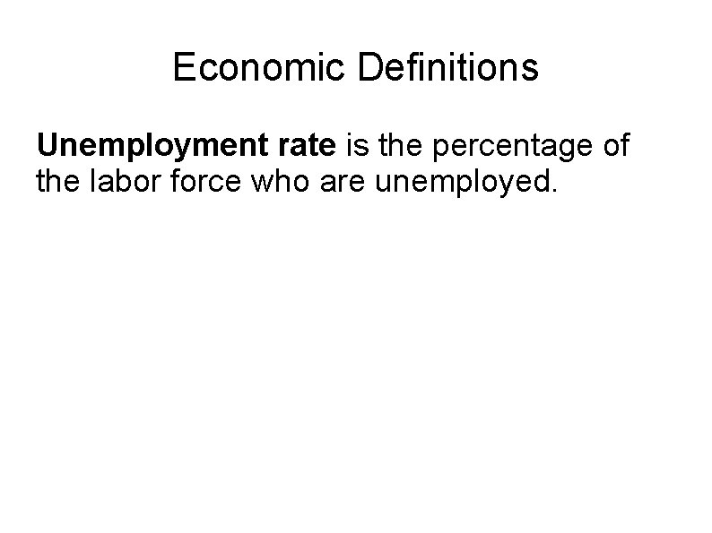 Economic Definitions Unemployment rate is the percentage of the labor force who are unemployed.