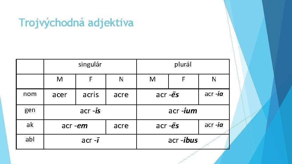 Trojvýchodná adjektiva singulár plurál M F N nom acer acris acre gen ak abl