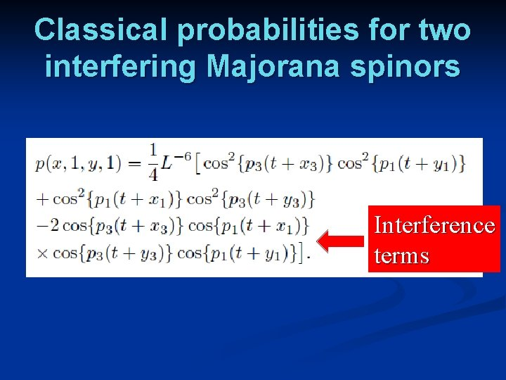 Classical probabilities for two interfering Majorana spinors Interference terms