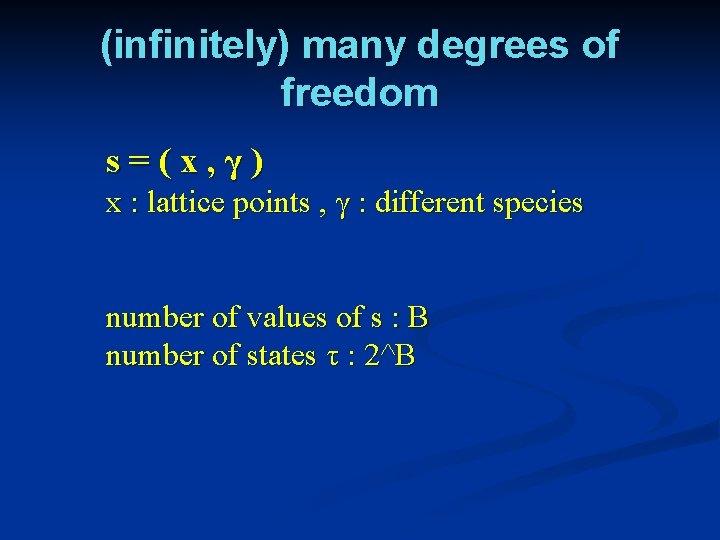 (infinitely) many degrees of freedom s=(x, γ) x : lattice points , γ :
