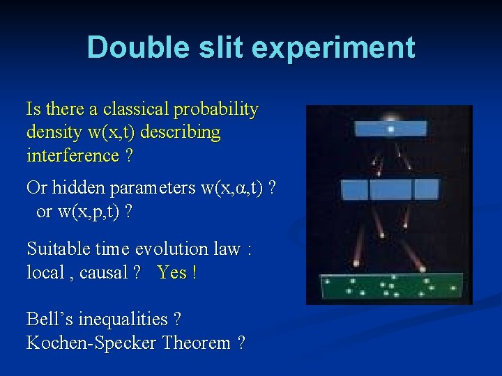 Double slit experiment Is there a classical probability density w(x, t) describing interference ?