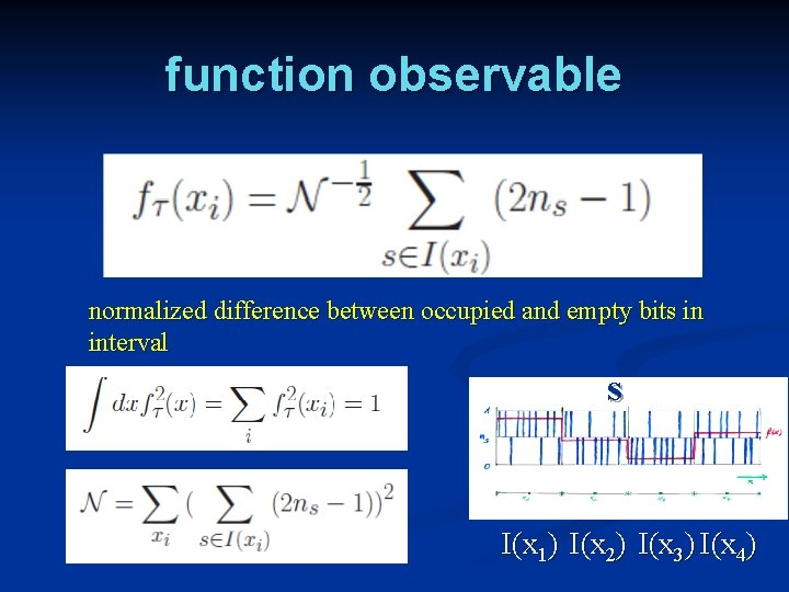 function observable normalized difference between occupied and empty bits in interval s I(x 1)