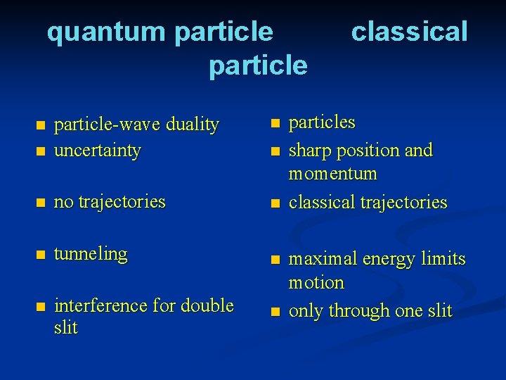 quantum particle n n particle-wave duality uncertainty n no trajectories n n tunneling n