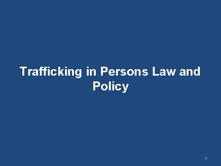 Trafficking in Persons Law and Policy 26