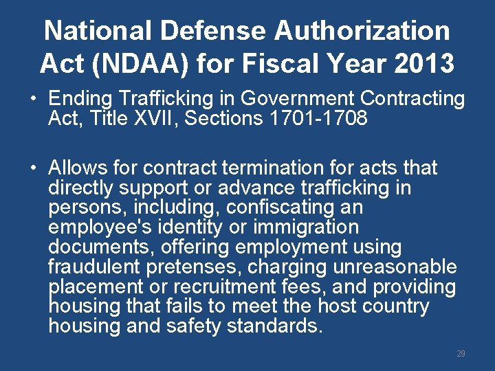 National Defense Authorization Act (NDAA) for Fiscal Year 2013 • Ending Trafficking in Government
