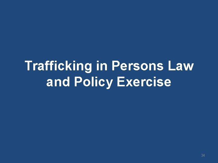 Trafficking in Persons Law and Policy Exercise 34