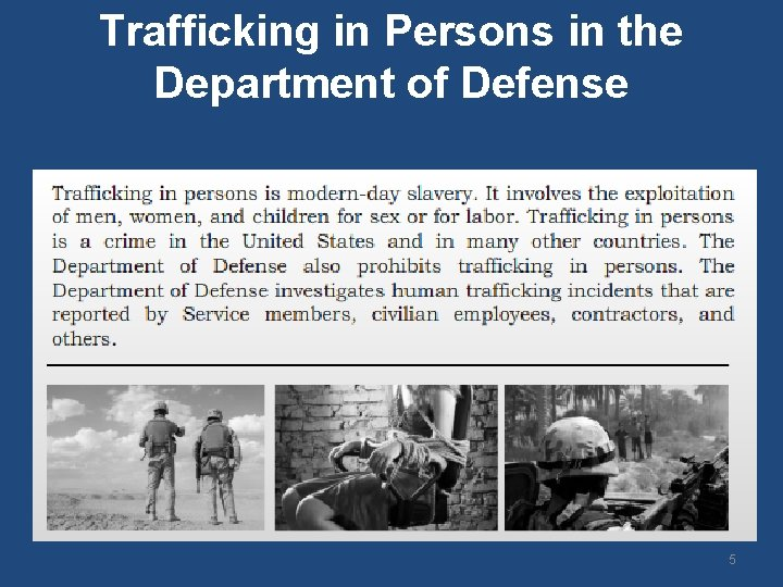 Trafficking in Persons in the Department of Defense 5