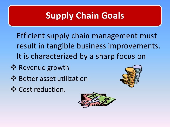 Supply Chain Goals Efficient supply chain management must result in tangible business improvements. It