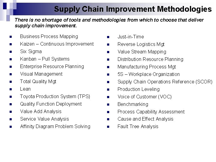 Supply Chain Improvement Methodologies There is no shortage of tools and methodologies from which