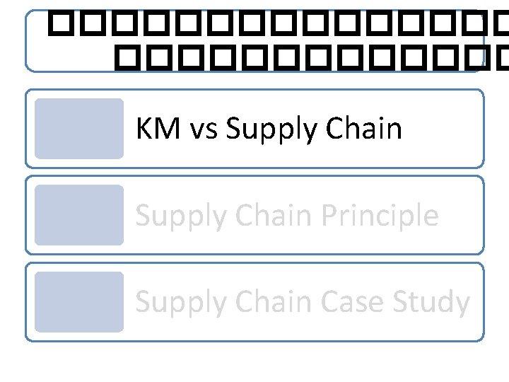 �������� KM vs Supply Chain Principle Supply Chain Case Study