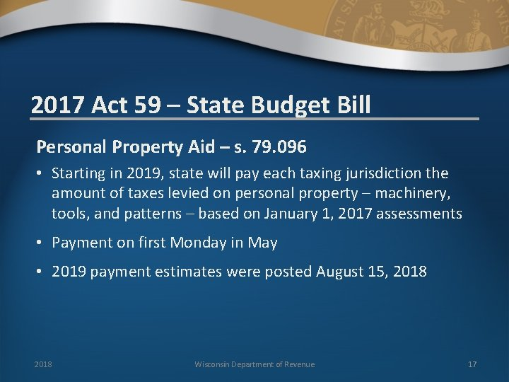 2017 Act 59 – State Budget Bill Personal Property Aid – s. 79. 096
