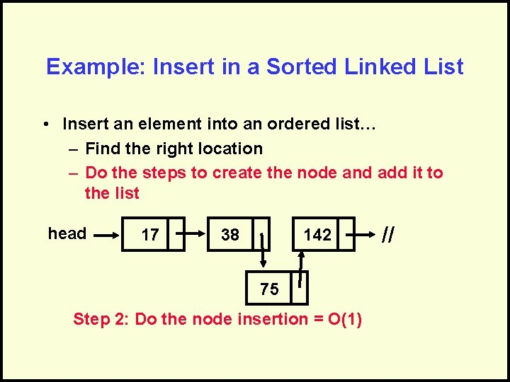 Example: Insert in a Sorted Linked List • Insert an element into an ordered