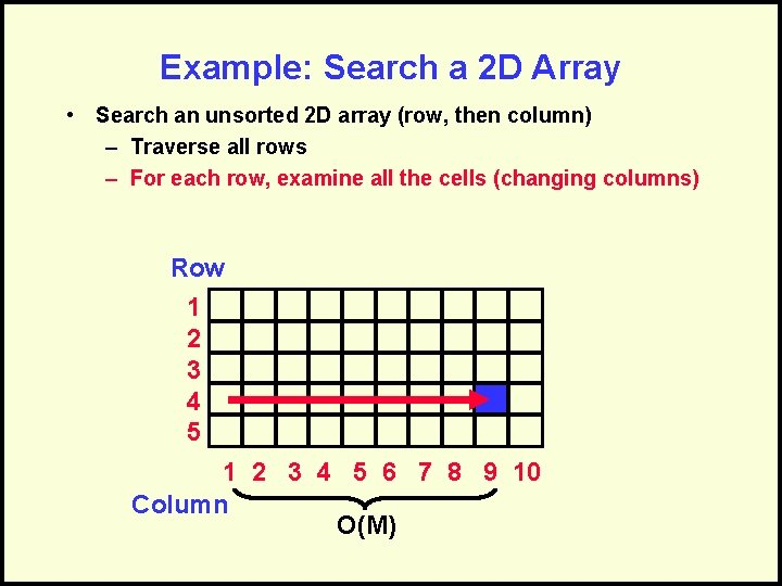 Example: Search a 2 D Array • Search an unsorted 2 D array (row,