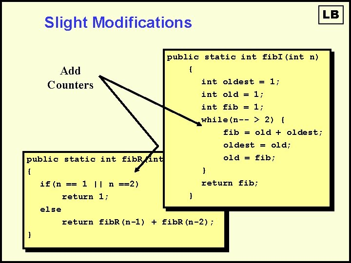 Slight Modifications LB public static int fib. I(int n) { Add int oldest =