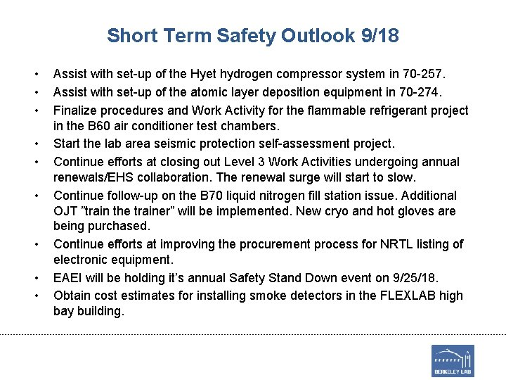 Short Term Safety Outlook 9/18 • • • Assist with set-up of the Hyet