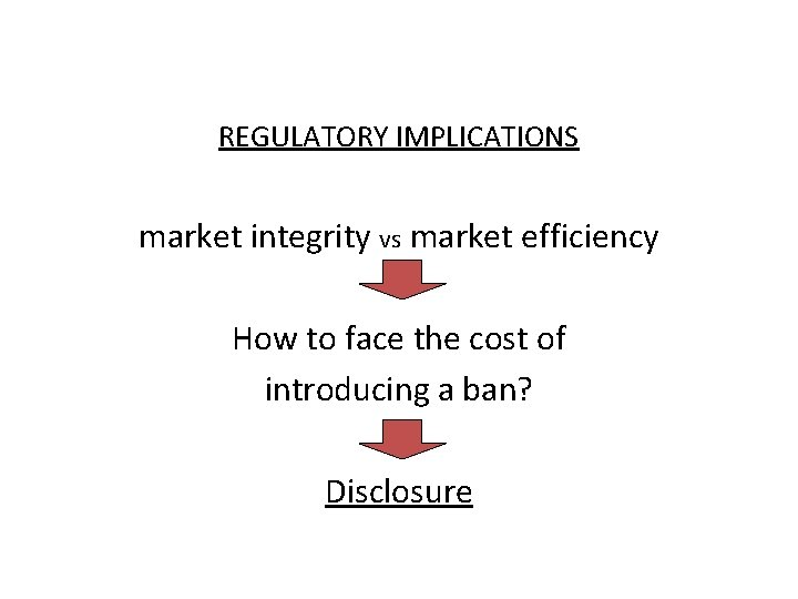 REGULATORY IMPLICATIONS market integrity vs market efficiency How to face the cost of introducing