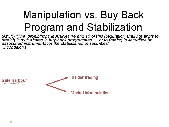 """Manipulation vs. Buy Back Program and Stabilization (Art. 5) """"The prohibitions in Articles 14"""