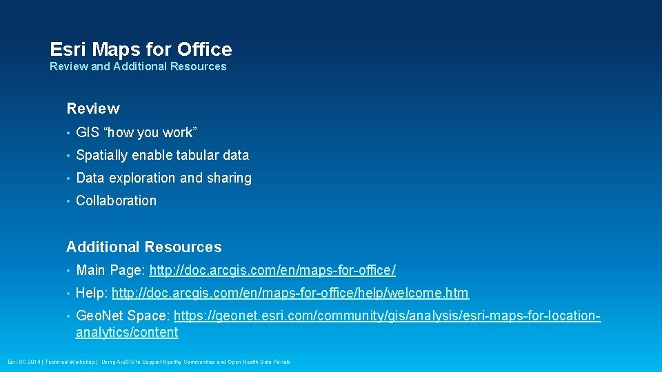 "Esri Maps for Office Review and Additional Resources Review • GIS ""how you work"""