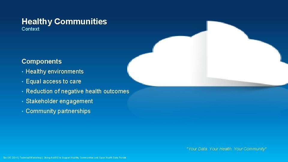 Healthy Communities Context Components • Healthy environments • Equal access to care • Reduction