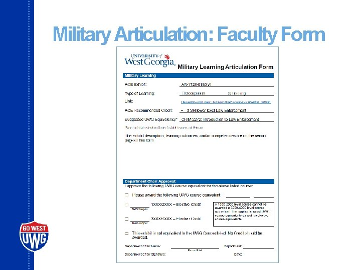 Military Articulation: Faculty Form