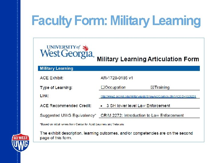 Faculty Form: Military Learning