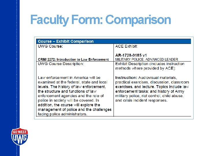 Faculty Form: Comparison