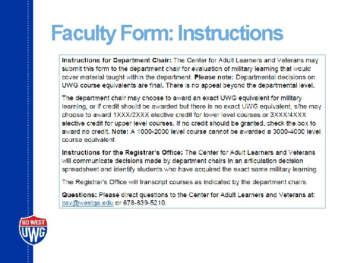 Faculty Form: Instructions