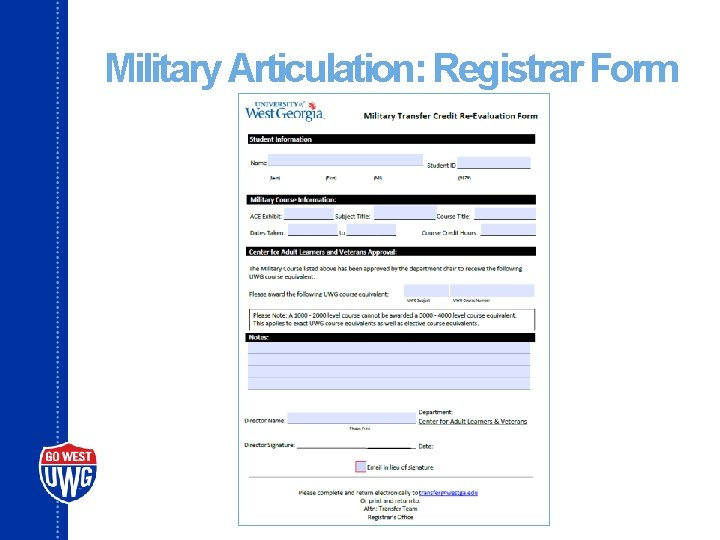 Military Articulation: Registrar Form