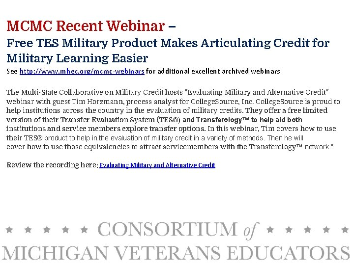 MCMC Recent Webinar – Free TES Military Product Makes Articulating Credit for Military Learning