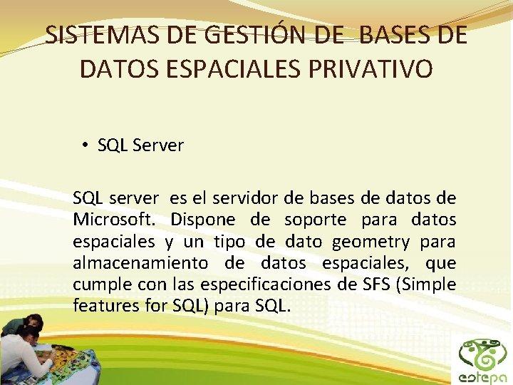 SISTEMAS DE GESTIÓN DE BASES DE DATOS ESPACIALES PRIVATIVO • SQL Server SQL server