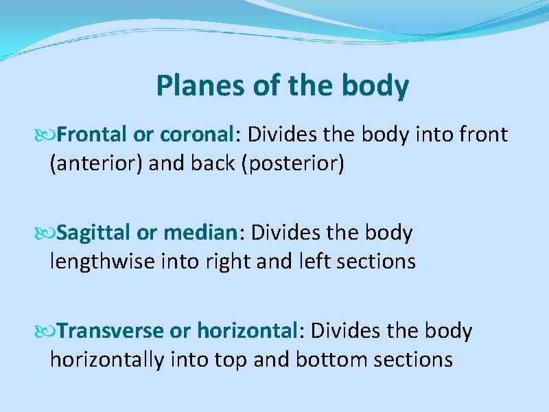 Planes of the body Frontal or coronal: Divides the body into front (anterior) and