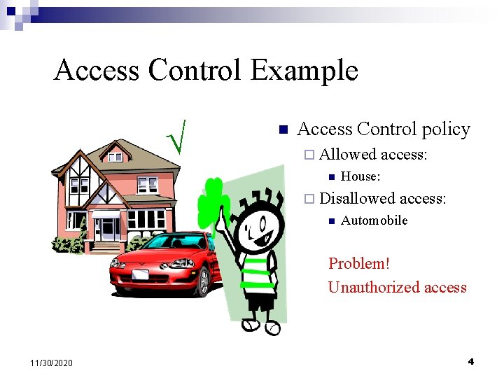 Access Control Example n Access Control policy ¨ Allowed n access: House: ¨ Disallowed
