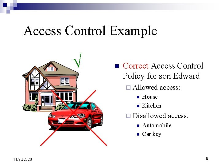 Access Control Example n Correct Access Control Policy for son Edward ¨ Allowed n