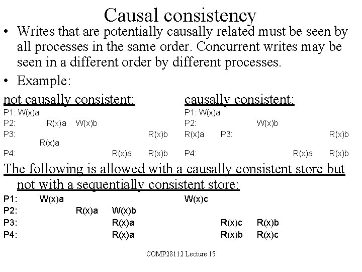 Causal consistency • Writes that are potentially causally related must be seen by all