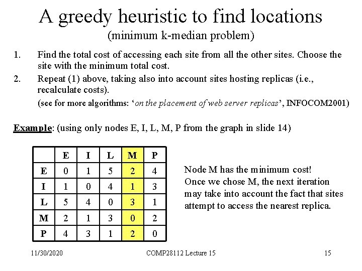 A greedy heuristic to find locations (minimum k-median problem) 1. 2. Find the total