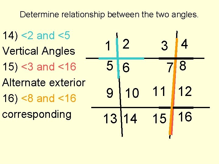Angles relationship and between lines Angle Relationships